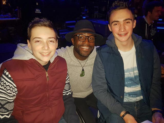 Timothy (left) and Christopher pictured with X Factor finalist Kevin Davy White