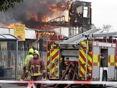 Blaze at disused fire station