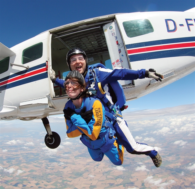 Sara defies ill health for daredevil skydive