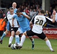 Hereford United v Rotherham United. Match action.