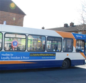 Buses spread Muslim message of peace