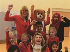 Mayor of Rotherham's charity cash drive turns school scarlet