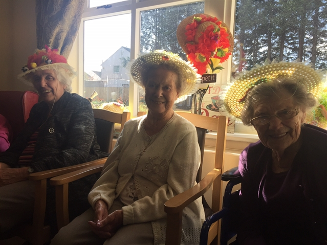 Hand-made bunny hats help Easter celebrations at a Rotherham care home