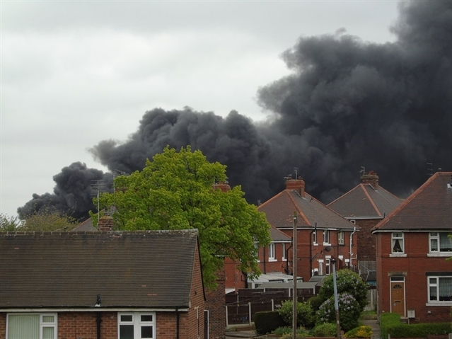 Keep clear alert by cops as recycling plant blaze rages on