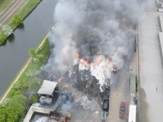 VIDEO: Aerial footage shows scale of recycling plant fire