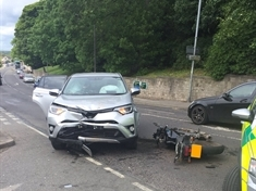 No injuries in collision between 4x4 and motorbike