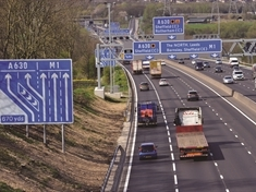 Heavy traffic on M1 motorway near Rotherham