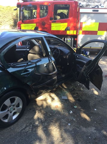 PICTURED: Car bursts into flames after driver uses aerosol then lights up at the wheel