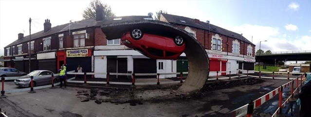 Awesome artwork in Tinsley shows car defying gravity