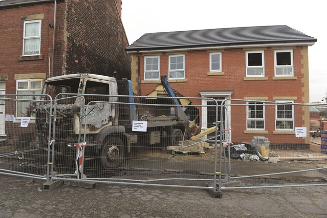 Skip lorry crashes into Thurnscoe home building site