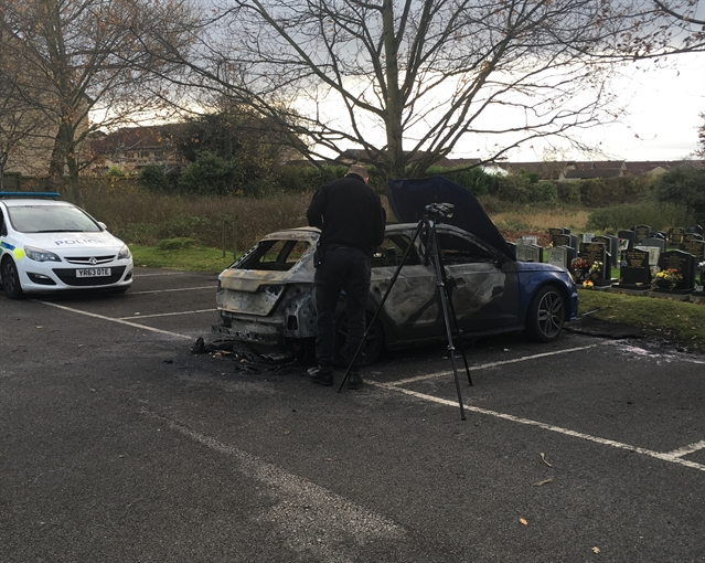 Crime scene officers investigate after Wickersley car fire