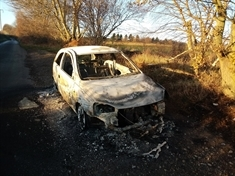 Car destroyed by fire on country lane near Wentworth