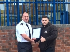 Brave teen Martin receives award for helping police in arrest of thieves