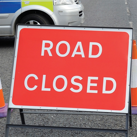 Road closed while water main repairs are carried out