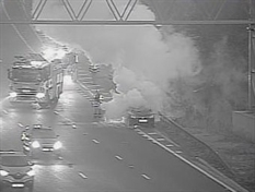 TRAFFIC: One lane blocked on M1 southbound after car fire