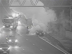 Traffic moving freely after rush hour M1 fire