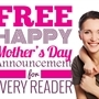 FREE for every reader happy Mother's Day announcement