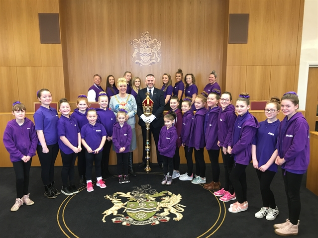 Dancing round Rotherham Town Hall with the mayor