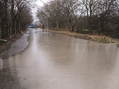 Wath road becomes a river after heavy rain