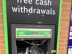 Cash point smashed on Broom Valley Road