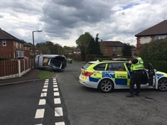 Car overturns after smash at Wickersley junction