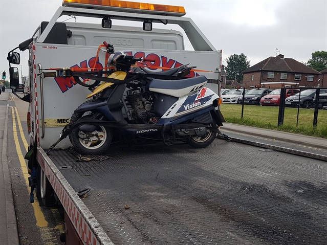 Suspected stolen motorbike found in Eastwood lock-up