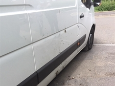 Van damaged in youths' gas canister attack in Rotherham