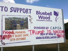 Dismay at vandalism of children's charity banner