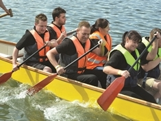 Bluebell Wood dragon boats fight it out at Manvers Lake