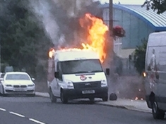 Van catches fire outside Bramley primary school