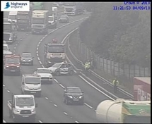 Two-vehicle crash causes disruption on M1 in Rotherham