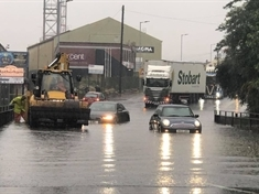 Storm Bronagh causes flash floods in Rotherham and leaves a car stranded