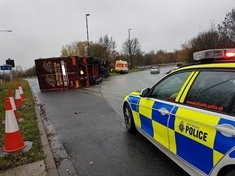 TRAFFIC: Overturned lorry blocking part of M1 junction
