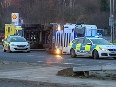 HGV overturns at Canklow roundabout