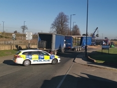 TRAFFIC: Road closed after lorry overturns at Todwick roundabout