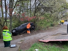 Car abandoned 'upside down in tree' after veering off Kimberworth road