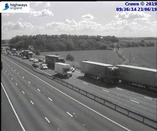 Multi-vehicle collision on M18 southbound near Bramley