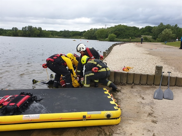 Firefighters act out dramatic rescue at Dearne Valley lake