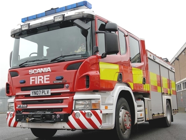 Rubbish fire in Treeton field
