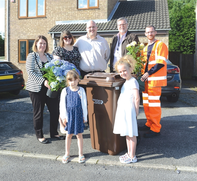 Presentation as Rotherham Council rolls out 40,000th garden waste bin