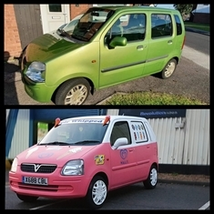 'Cone' you believe it: cool customers take on banger rally in Vauxhall Agila 'ice cream van'