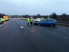 Collision on M1 near Tankersley and Dodworth causing delays into Rotherham