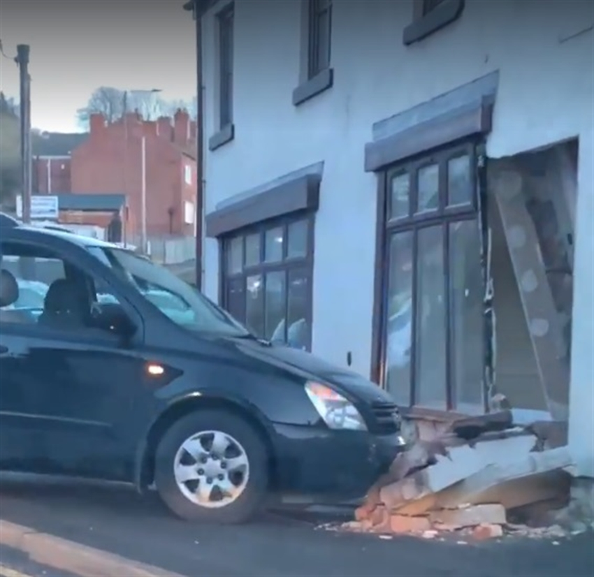 Runaway car smashes through wall of Conisbrough building