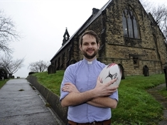 PITCH AND PULPIT ...  rugby-playing vicar Tom Brown gets a real kick out of the game