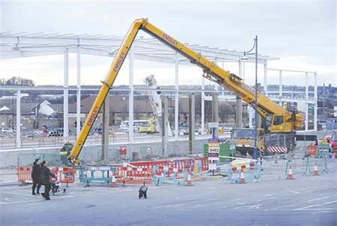 Crane crash setback for new Tesco